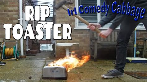 Burning Toaster - smashing and burning a toaster