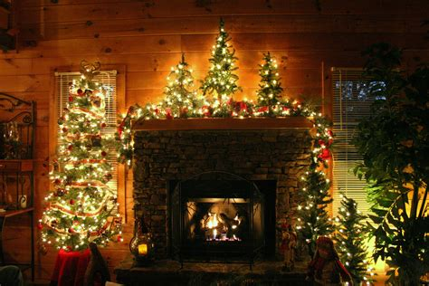 christmas fireplace decorations christmas   cabin