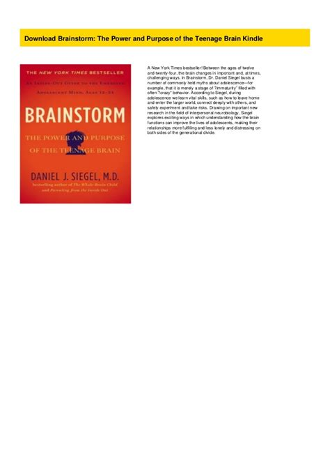 Download Brainstorm: The Power and Purpose of the Teenage ...