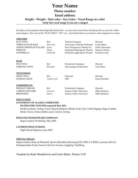 acting resume template in word and pdf formats