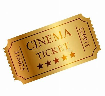 Ticket Gold Clipart Vector Illustration Cinema Royalty