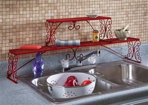 Red Over The Sink Shelf by Red Over Sink Metal Rack Shelf Scroll Design 2 Tier New