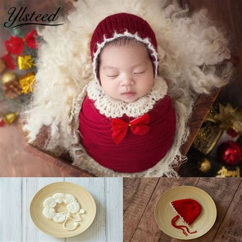 ylsteed newborn photography props baby christmas hat shawl