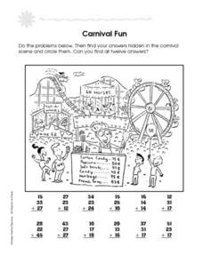 Carnival Fun Addition With 3 Numbers 2nd  3rd Grade