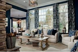 Navy Blue Interior Design Idea Navy Blue Curtains Home In Living Room Traditional With Beige Sofa Art