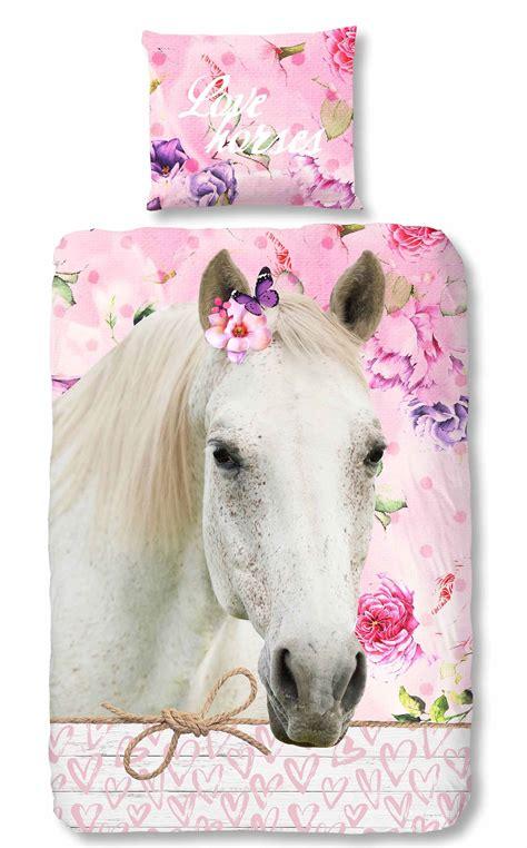teilige bettwaesche  cm pferd schmetterling rosa