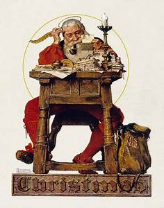 Norman Rockwell Christmas: Santa Claus Reading Mail ...