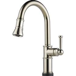 kitchen touch faucet brizo 64025lf pn artesso brilliance polished nickel pullout spray kitchen faucets efaucets