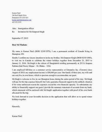 letter  invitation  canadian visa application