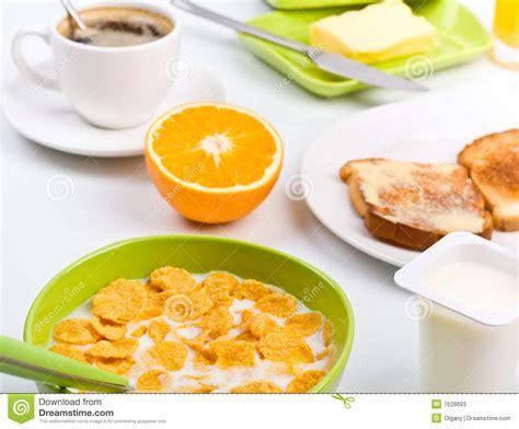 Breakfast With Cornflakes,toast, Orange And Coffee Stock Image   Image: 7628693