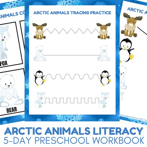 arctic animal activities for autistic 333 | Arctic Animals Literacy Activities 5 day Preschool Literacy Workbook for Arctic Animal Unit Studies