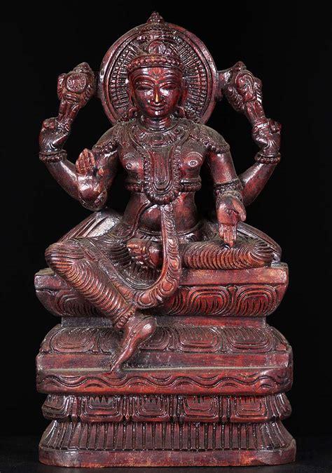 SOLD Wooden Seated Vishnu Statue 12