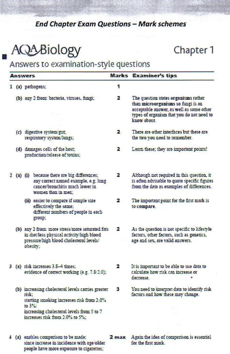 aqa gcse science student worksheet answers biology