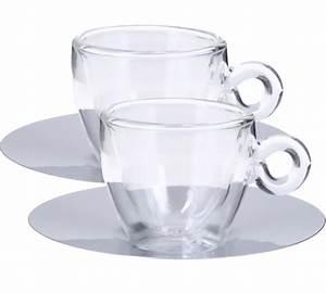 Tasse En Verre : 2 tasses piattino en verre double paroi sous tasse inox ~ Teatrodelosmanantiales.com Idées de Décoration