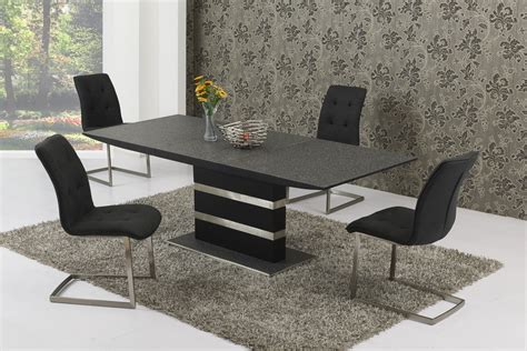 large extending black effect glass dining table 8