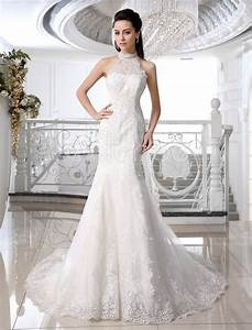 Ivory backless lace applique tulle sequins wedding dress for Milanoo wedding dresses