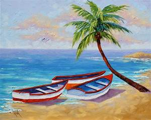 Easy Landscape Paintings For Kids Tropical Beach Seascape ...