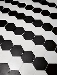 Carrelage Hexagonal Blanc : carrelage hexagonal 17 5x20 tomette design noir mat as ~ Premium-room.com Idées de Décoration
