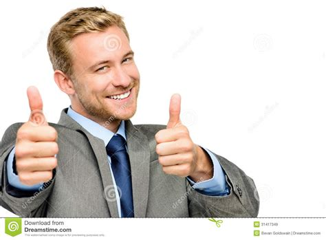 Happy Businessman Thumbs Up Sign On White Background Stock