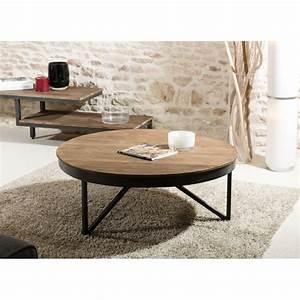 Table Basse Bois Et Metal : table basse ronde bois et m tal 90x90cm sixtine la coop ~ Dallasstarsshop.com Idées de Décoration