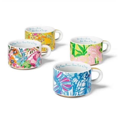 No brand 4 piece stackable mug set | quill. Lilly Pulitzer Porcelain Espresso Stacking Cups Mugs Set ...