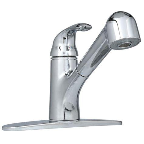 kitchen faucet chrome ez flo non metallic single handle pull out sprayer kitchen faucet in chrome 10384 the home depot