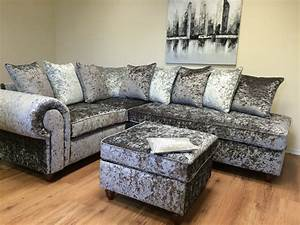 crushed velvet sofa silver velvet sofa sofas thesofa With crushed velvet sectional sofa
