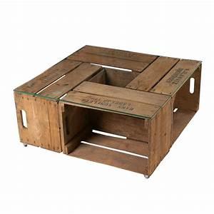 Auf Alt Gemachte Möbel : m bel couchtisch aus alten birnenkisten auf rollen inkl glasplatte 77x77x36cm ~ Markanthonyermac.com Haus und Dekorationen