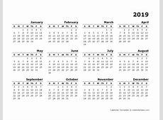2019 Yearly Calendar Blank Minimal Design Free Printable