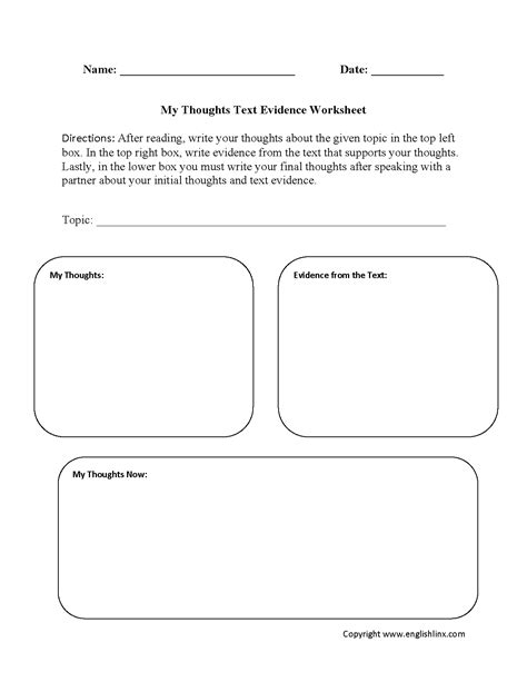 text evidence worksheets  thoughts text evidence