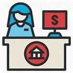 Counter Teller Banker Icon Officer Service Money