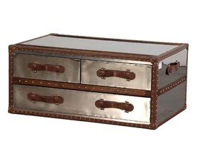 Espresso brown faux leather trim is accented by. Metal Trunk Coffee Table - Foter