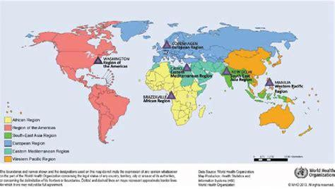 global map showing   world health organization
