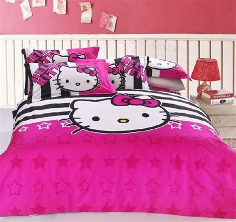 new 2015 hello kitty bedding set 4pc queen bed pink cotton