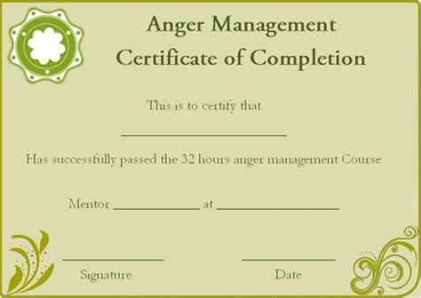 Anger Management Certificate Template by Anger Management Certificate Of Completion Template