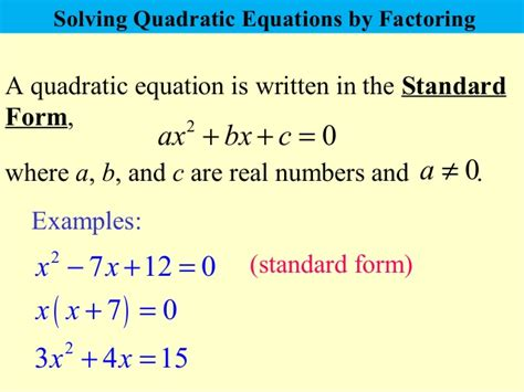 how to write a quadratic equation in standard form quadratic equations that factorise