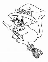 Witch Coloring Pages Halloween Printable Cat sketch template