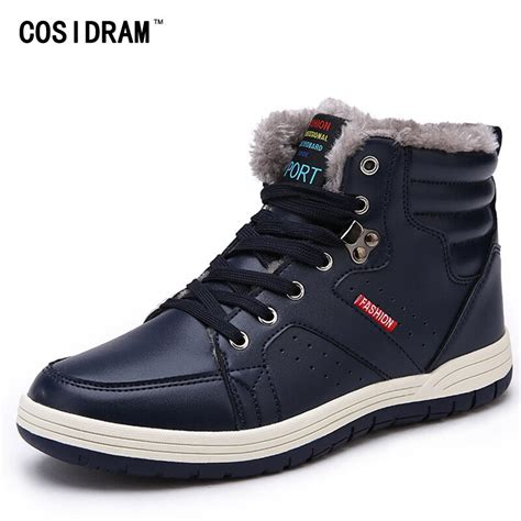 Cosidram Warm Winter Shoes Men Boots Leather Ankle Snow