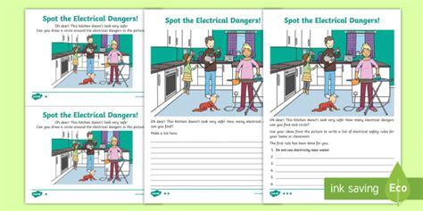 electrical dangers worksheet electricity safety safe hazards science