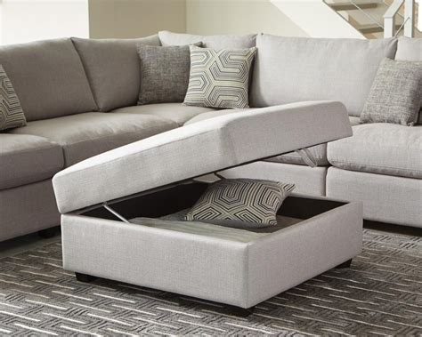 living room ottoman with storage transitional grey ottoman 551223 ottomans