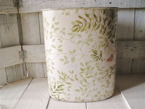 shabby chic garbage can vintage trash can waste paper basket nashco shabby chic bird vine wallpaper 1950s haute juice