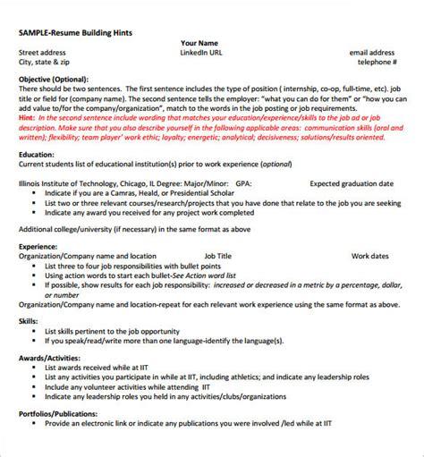 internship resume template 11 free sles exles