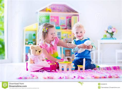 Playing In Tiy House Royalty-free Stock Photo