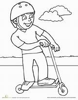 Scooter Coloring Pages Sports Worksheet Riding Colouring Education Boy Worksheets Scooters Printables Bike Safety Summer Template Helmet Children Sketch Wearing sketch template