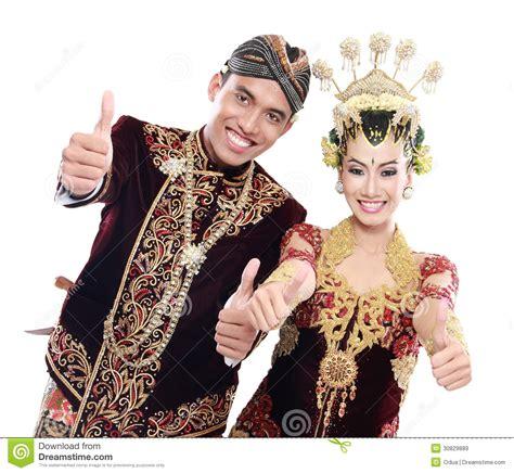 happy traditional java wedding couple  thumbs  stock