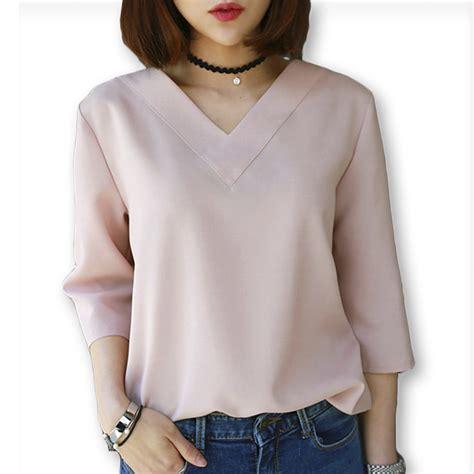 summer blouse 2016 summer tops v neck chiffon blouse shirt office