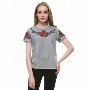 Aliexpress.com : Buy Women tassel floral print T shirt ...