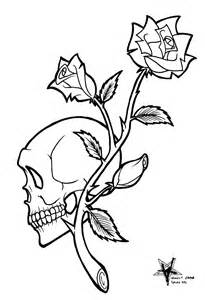 Skull and Rose Tattoo Flash