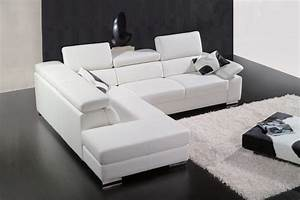 canape d39angle en cuir italien 5 places helios blanc With tapis design avec canape angle cuir italien