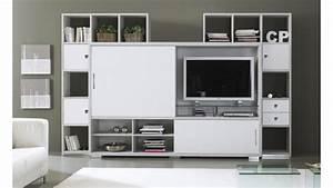 Meuble Tv Au Mur : mur tv design de salon avec rangements split gdegdesign ~ Teatrodelosmanantiales.com Idées de Décoration